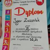 Brąz Wojewódzkich Igrzysk w pływaniu dla Igora Zuzaniuka (5.12.2018)