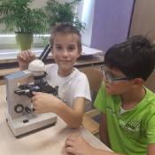 Klasy 4 poznają zasady pracy z mikroskopem (25.09.2018)